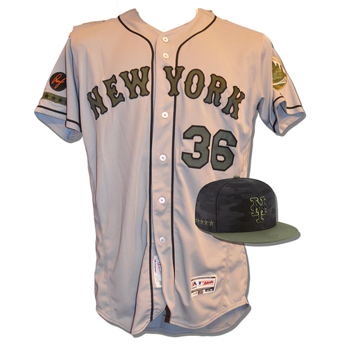 Photo of Mickey Callaway #36 - Game Used Road Grey Memorial Day Jersey and Hat - Mets vs. Braves - 5/28/18