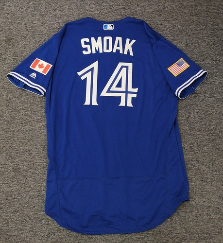 Photo of Authenticated Team Issued 2018 Independence Day Jersey - #14 Justin Smoak. Size 48.