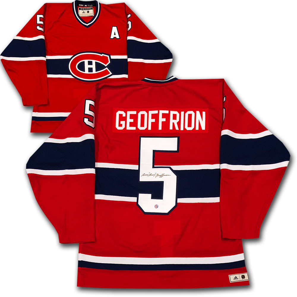 Bernie BOOM BOOM Geoffrion Autographed Montreal Canadiens adidas Team Classics Authentic Vintage Jersey