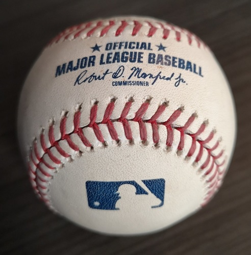 Photo of Authenticated Game Used Baseball - Miguel Cabrera Hit by Pitch against Aaron Sanchez (Mar 30, 19 vs DET). Top 6.