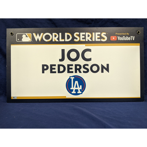 Photo of Team-Issued Joc Pederson 2017 World Series Media Sign