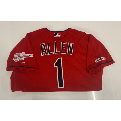 Photo of Greg Allen Game-Used Jersey - Opening Day 4/1/19 - Chicago White Sox at Cleveland Indians