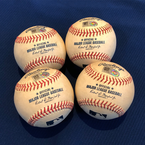 Photo of Game Used Baseballs - Jeff McNeil Cycle - Pablo Lopez to Jeff McNeil - Single - Trevor Rogers to Jeff McNeil - Double - Trevor Richards to Jeff McNeil - RBI Triple - David Phelps to Jeff McNeil - Home Run, 3 RBI - Various Games