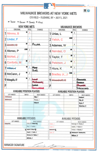 Photo of Game Used Lineup Card - Megill 5 IP, 1 ER, 7 K's, ND; Alonso 1-4, 2B, 3 RBI's; Nimmo 2-4, 2B; Diaz Save (18); Mets Win 4-2 - Mets vs. Brewers - 7/5/21