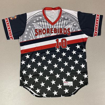 Patriotic Game Worn Autographed Jersey #10 Size 46 Logan Michaels