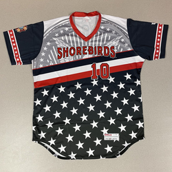 Photo of Patriotic Game Worn Autographed Jersey #10 Size 46 Logan Michaels