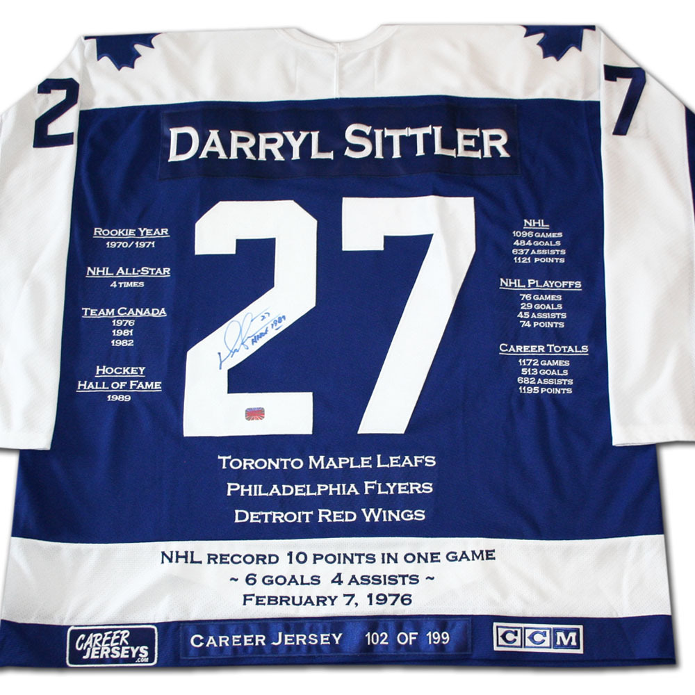 Darryl Sittler Autographed Career Stats Limited-Edition Toronto Maple Leafs Jersey - #102/199