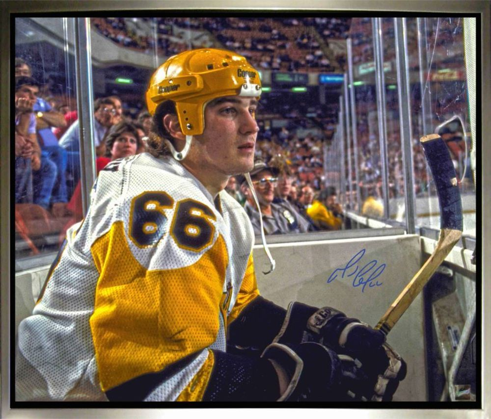 Mario Lemieux Signed, Framed 20 x 24 Canvas with Pittsburgh - Looking On Image