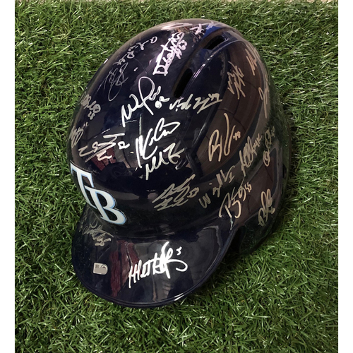 Photo of 2019 Tampa Bay Rays Team Autographed Helmet
