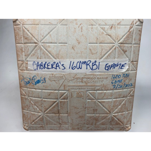 Photo of Autographed Game-Used Base: Miguel Cabrera 1,600th RBI Game
