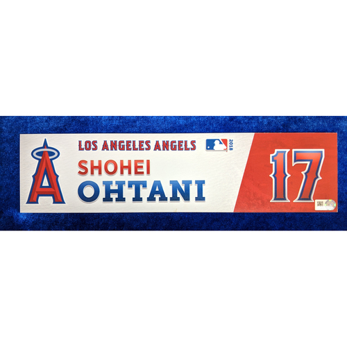 Photo of Shohei Ohtani Game-Used 2018 Locker Name Plate