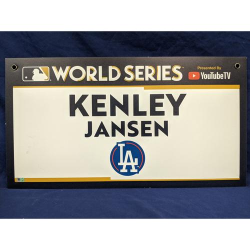 Photo of Team-Issued Kenley Jansen 2017 World Series Media Sign