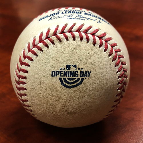 Photo of 2020 Opening Day Game Used Baseball: Pitcher: Noe Ramirez, Batters: Stephen Piscotty (Walk), Sean Murphy (Walk), Marcus Semien (Ball in Dirt) - Bot 5 - 7-24-2020 vs. LAA