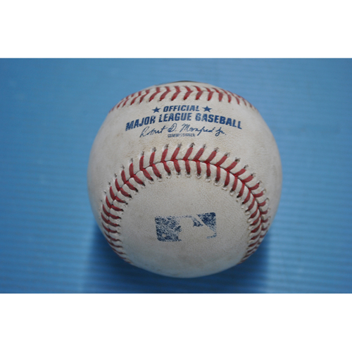 Photo of Game-Used Baseball - 2020 NLDS - San Diego Padres vs. Los Angeles Dodgers - Game 2 - Pitcher - Clayton Kershaw, Batter - Fernando Tatis Jr. (Popout to Shortstop) - Top 1