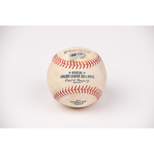 Photo of Game Used Baseball: Pitcher: Patrick Sandoval, Batter: Mallex Smith - Strike Out - Top 3 - 7-28-2020 vs. SEA