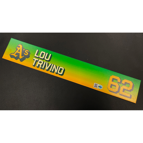 Photo of Game-Used 2020 Locker Nameplate - Lou Trivino