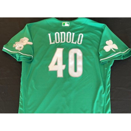 Photo of Nick Lodolo -- Team-Issued Jersey -- 2021 St. Patrick's Day Game -- Size 46