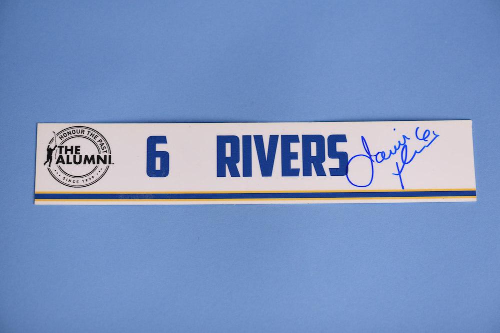 Jamie Rivers autographed 2020 NHL Alumni All Star Game Locker Room Stall Nameplate