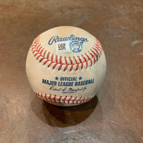 Photo of 2021 Game Used Baseball used on 4/14 vs. CIN - B-5: Tyler Mahle to Tommy La Stella - Single to Right Field