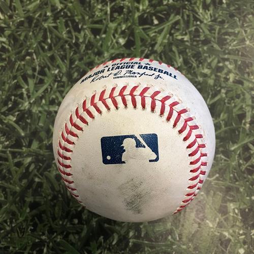 Photo of Game-Used Baseball PIT@MIL 06/12/21 - Corbin Burnes - Adam Frazier: Single