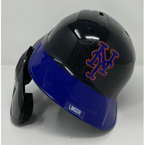 Photo of Francisco Lindor #12 - Game Used Left Handed Batting Helmet with American Flag Decal - 20th Anniversary Ceremony of 9/11/2001 - Mets vs. Yankees - 9/11/21