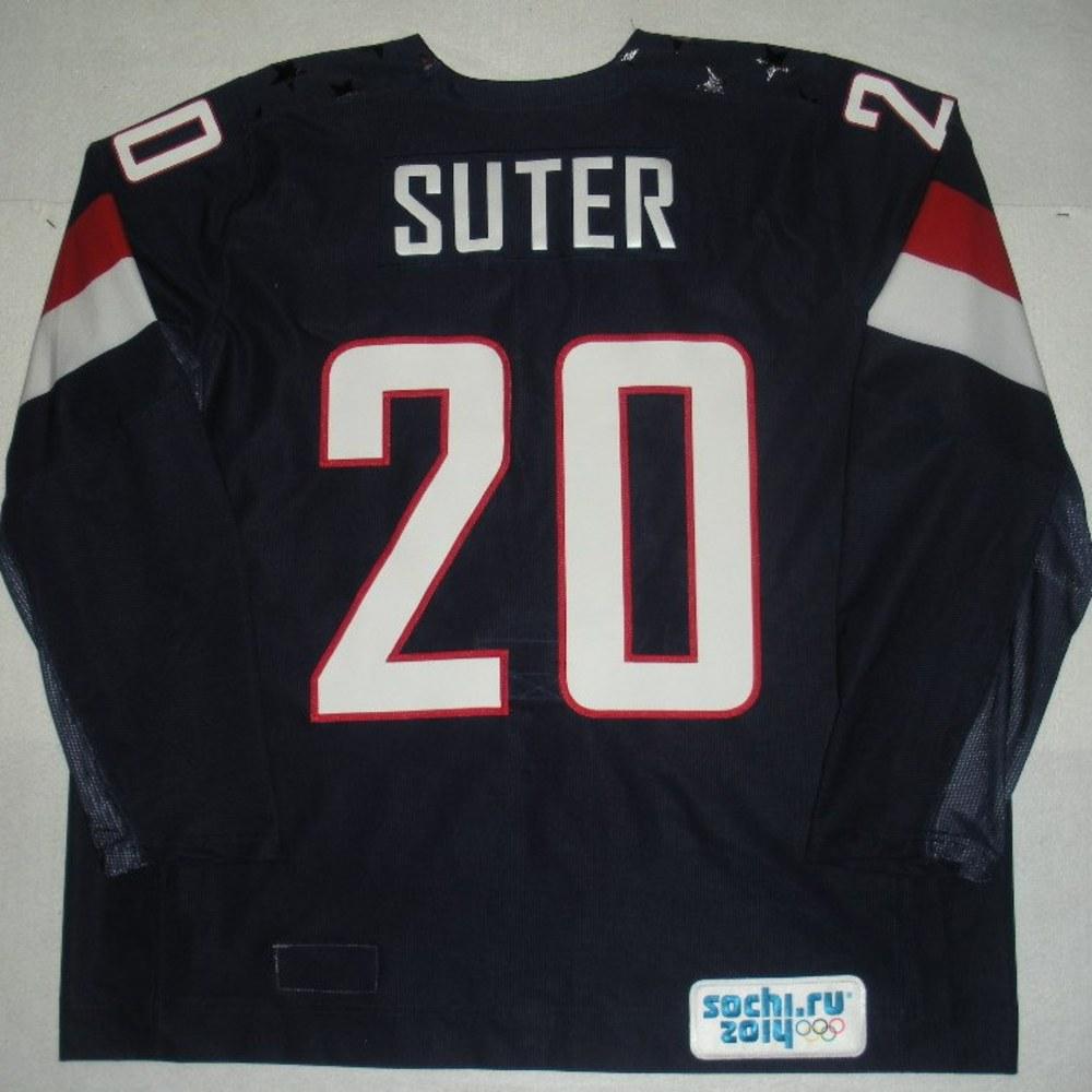Ryan Suter - Sochi 2014 - Winter Olympic Games - Team USA Blue Game-Worn Jersey - Bronze Medal Game vs. Finland, 2/22/14