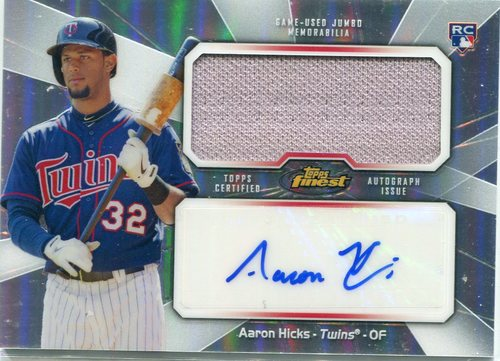 Photo of 2013 Finest Rookie Jumbo Relic Autographs Refractors Aaron Hicks
