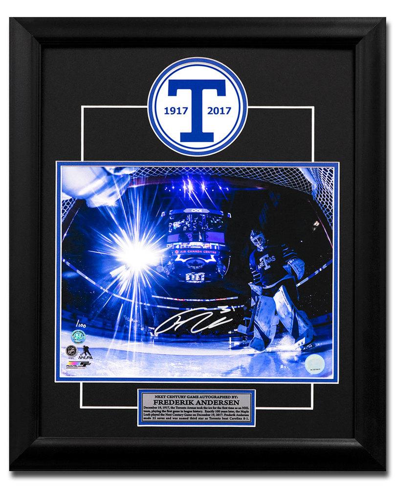 Frederik Andersen Toronto Arenas Signed Leafs Next Century Game 23x19 Frame /100