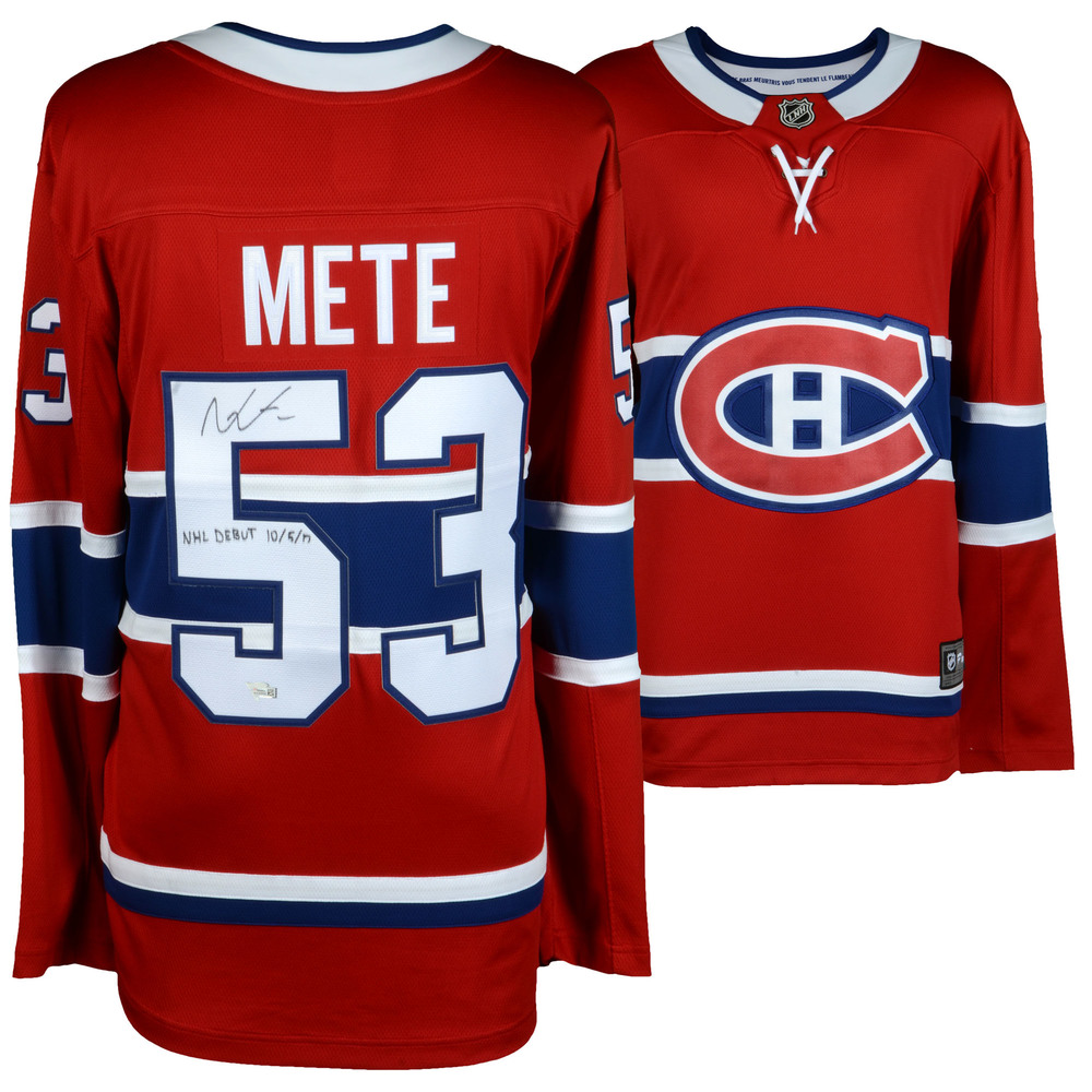 Victor Mete Montreal Canadiens Autographed Red Fanatics Breakaway Jersey with NHL Debut 10/5/17 Inscription