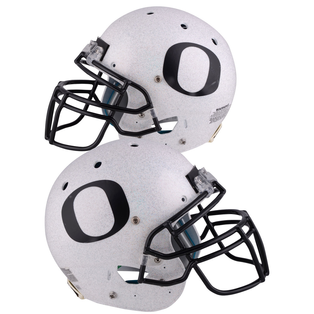 Oregon Ducks Game-Used Gray and Black Helmet Worn Between the 2014 and 2017 Football Seasons - Schutt Flat