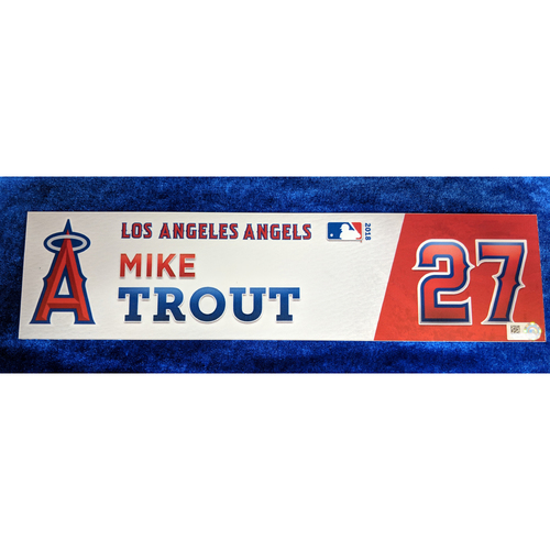 Photo of Mike Trout Game-Used 2018 Locker Name Plate
