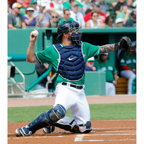 Photo of Red Sox Foundation St. Patrick's Day - Blake Swihart Game-Used and Autographed Jersey