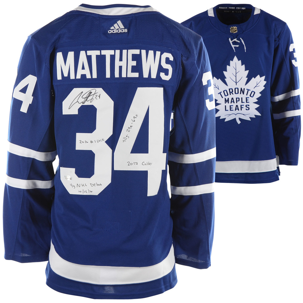 promo code 9ac3d cde4f Auston Matthews Toronto Maple Leafs Autographed Blue Adidas ...