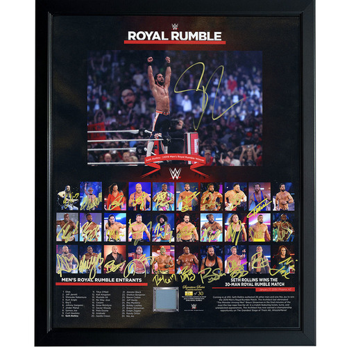 Photo of 2019 Men's Royal Rumble Entrant Autographed Ring Canvas Plaque (Random Number)