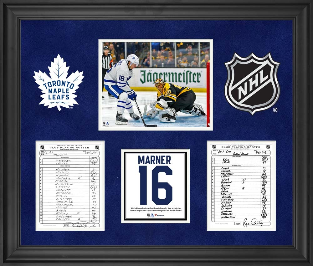 Toronto Maple Leafs Framed Original Line-Up Cards from May 11, 2019 vs. Boston Bruins - Mitch Marner Game 1 Short-Handed Penalty Shot