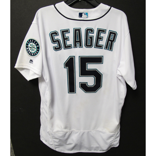 Photo of Kyle Seager Game-Used Home White Jersey - Angels vs. Mariners - 7/5/18