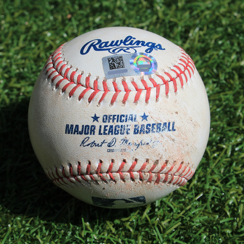 Photo of Game-Used Baseball: Randy Arozarena MLB Debut - Ball in Dirt (STL @ KC - 8/14/19)
