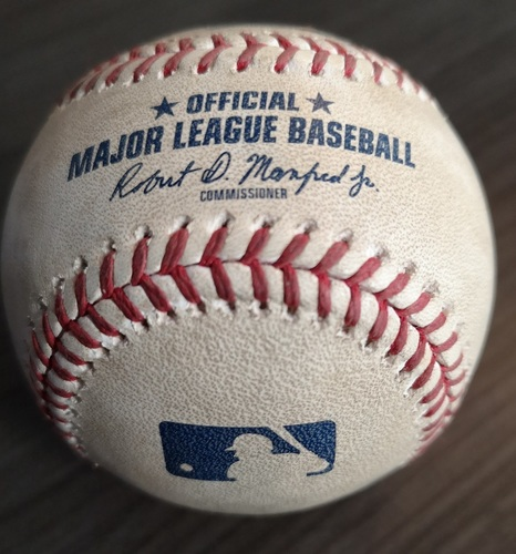 Photo of Authenticated Game Used Baseball - Single by Teoscar Hernandez against Mike Fiers (Apr 26, 19 vs OAK). Bottom 7. MLB Debut for Vladimir Guerrero Jr.
