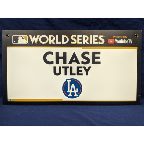 Photo of Team-Issued Chase Utley 2017 World Series Media Sign