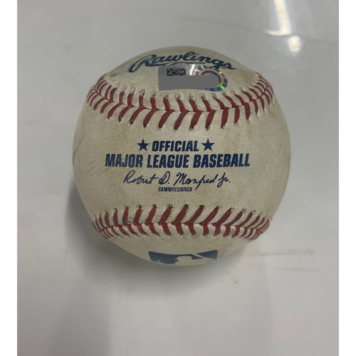 Photo of Game Used Baseball - 8/22/20 - Batter: Christin Stewart, Pitcher: Triston McKenzie (MLB Debut) - Strikeout, Batter: Austin Romine Foul Ball
