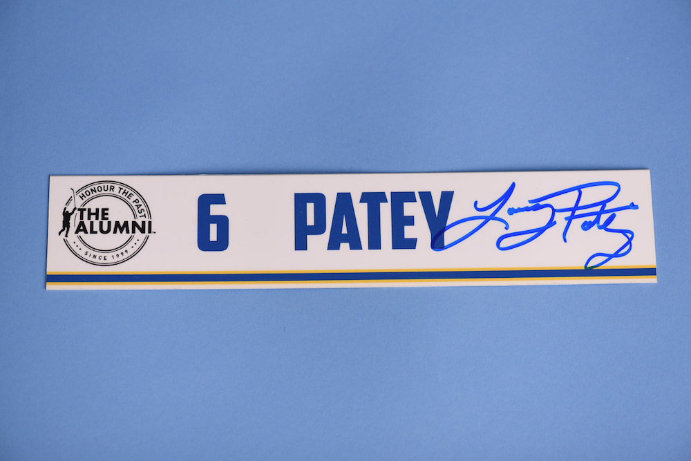 Larry Patey autographed 2020 NHL Alumni All Star Game Locker Room Stall Nameplate