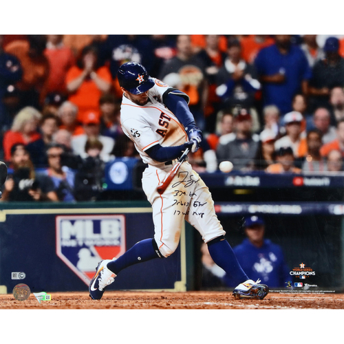 "Photo of George Springer Houston Astros 2017 MLB World Series Champions Autographed 16"" x 20"" World Series Photo with Multiple Inscriptions - #1 of L.E. of 50"