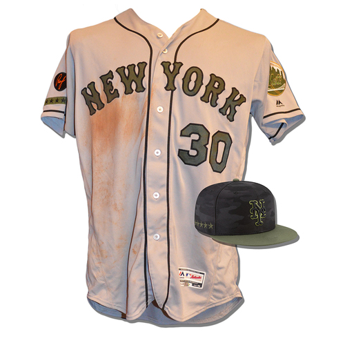 Photo of Michael Conforto #30 - Game Used Road Grey Memorial Day Jersey and Hat - Mets vs. Braves - 5/28/18