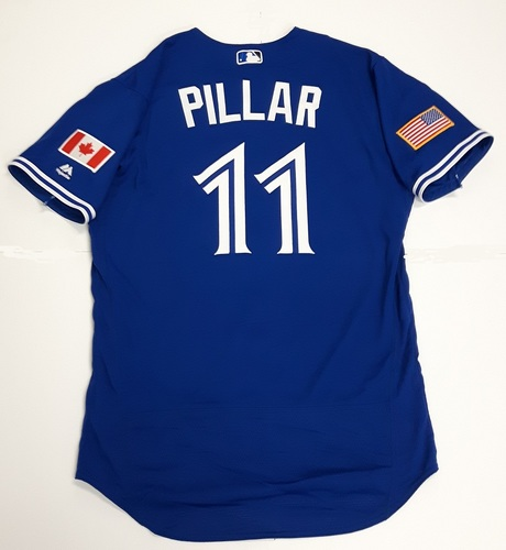 Photo of Authenticated Game Used 2018 Independence Day Jersey (July 4, 2018) - #11 Kevin Pillar. Size 44.