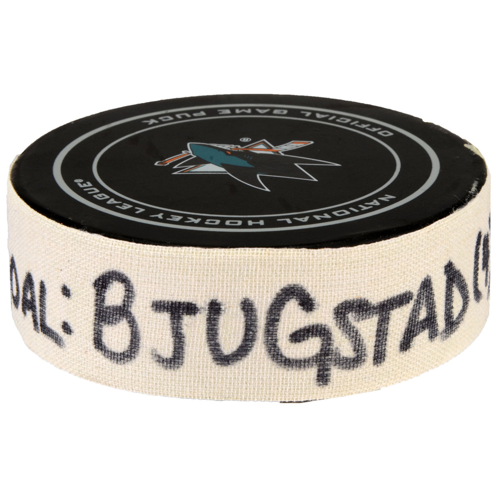Nick Bjugstad Florida Panthers Game-Used Goal Puck from February 15, 2017 vs. San Jose Sharks - Scored Goal of Two Goals Scored