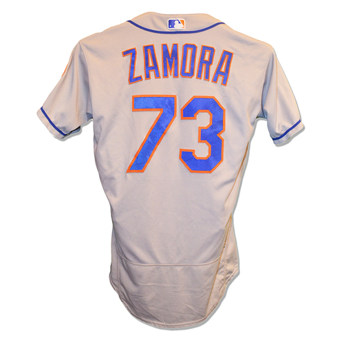 Photo of Daniel Zamora #73 - Game Used Road Grey Jersey - Mets vs. Nationals - 9/21/18