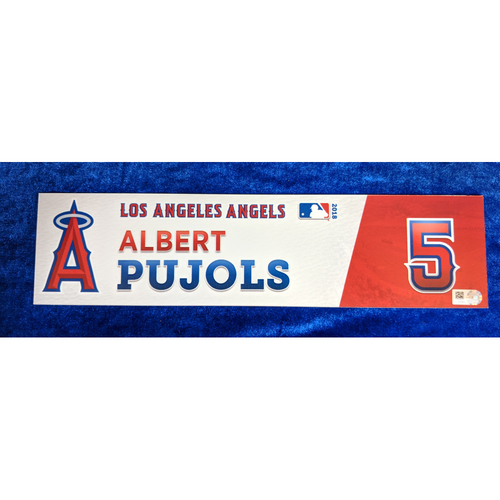 Photo of Albert Pujols Game-Used 2018 Locker Name Plate