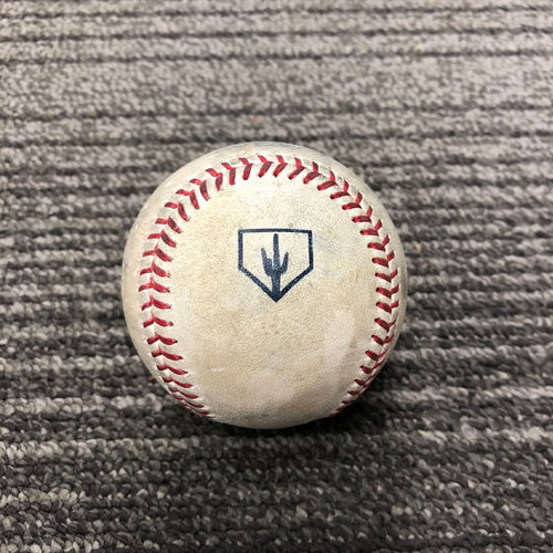 Photo of 2019 Spring Training Game Used Baseball - T-5: Drew Pomeranz Strikes Out Ramon Laureano. Also Strikes Out Stephen Piscotty on 3/26/19