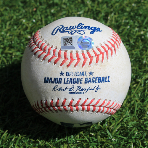 Photo of Game-Used Baseball: Marcus Semien 742nd Career Hit and Mike Montgomery Pitched Strikeout to Matt Chapman (OAK @ KC - 8/27/19)