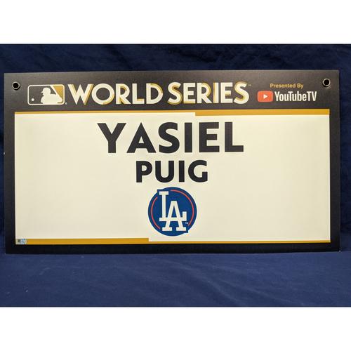 Photo of Team-Issued Yasiel Puig 2017 World Series Media Sign